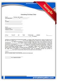 free printable advertising purchase order legal forms free legal