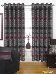 Aubergine Curtains New York Aubergine 66 X 90 Inch Curtains With Eyelet Ring Tops