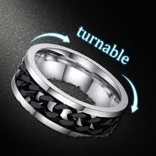 mens stainless steel wedding bands vnox spinner black chain ring for men titanium steel metal