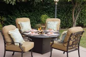 furniture chat group cast aluminum propane fire pit table 5pc santa