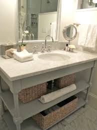diy white marble bathroom vanity design with wicker rattan and