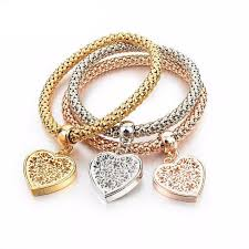 gold bracelet with heart charm images Heart charm bracelets with austrian crystals joyfeel jewelry jpg
