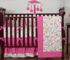 Pink And Green Crib Bedding Modern Pink And Green Polka Dot Baby Room 9pc Crib Bedding Set For