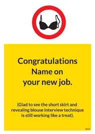 Congrats On New Job Card Short Skirt Funny New Job Card