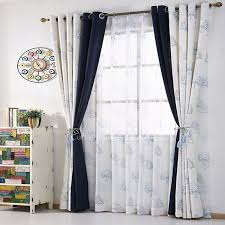 Tab Top Country Curtains Blue And White Cotton Linen Country Curtains