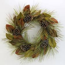 magnolia leaf wreath admiredbynature 26 faux magnolia leaves and glitter pine cone