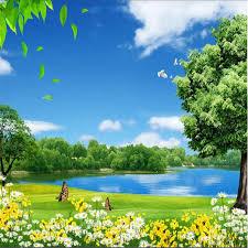 beibehang custom flower lake trees natural beauty painting photo