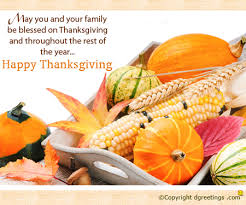 may you and your family be blessed thanksgiving card