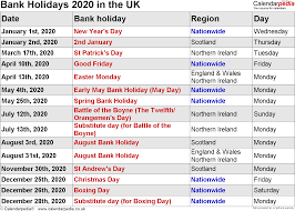 bank holidays 2020 in the uk