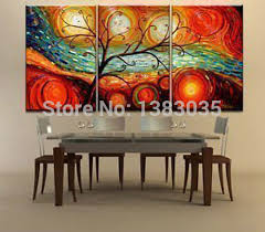 hand painted tree landscape oil paintings on canvas 3 piece modern