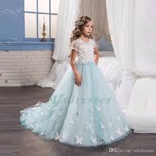 light blue dresses for kids 2017 light blue flower dresses with butterfly short sleeves