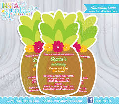 luau invitations pineapple hawaiian invitation invites birthday