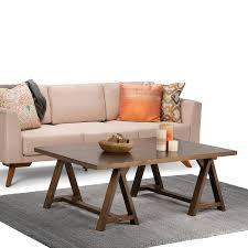 amazon com simpli home sawhorse coffee table medium saddle brown