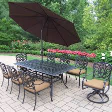 11 Piece Patio Dining Set - oakland living hampton 11 piece sunbrella cushioned dining set