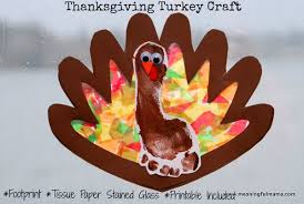 toilet paper turkey craft thanksgiving footprint turkey with tissue paper stained glass wings