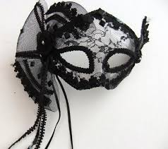 black lace fan black lace burlesque fan mask with headband or ribbons