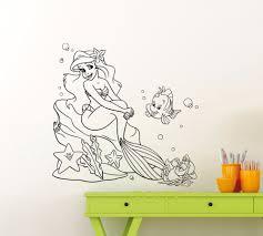 online get cheap princess wall decal aliexpress com alibaba group ariel mermaid wall decal princess flounder sebastian cartoons vinyl sticker home kids girl boy nursery bathroom art decor mural