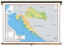 Adriatic Sea Map Croatia Physical Educational Wall Map From Academia Maps