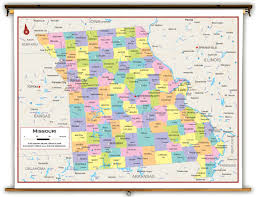 Missouri Illinois Map by Missouri State Political Classroom Map From Academia Maps
