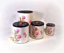 vintage decoware kitchen canister set 3 pcs plus waste basket