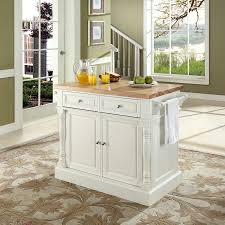 kitchen island cabinet base only crosley furniture white composite base with wood butcher block top kitchen island 23 in x 48 in x 36 in
