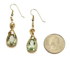 green amethyst earrings 13 ct brilliant cut green amethyst 14k gold filled earrings