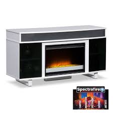 Modern White Tv Table Stand Fireplaces Value City Furniture