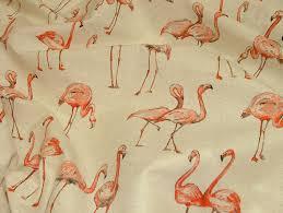 Curtain Upholstery Fabrics Flamingos Vintage Linen Look Animal Print Designs Curtain