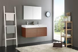 mezzo 48 inch teak wall mounted double sink bathroom vanity