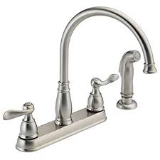 Kitchen Sink Faucets Amazon Com by Delta Foundations 21996lf Ss Two Handle Kitchen Faucet With Spray
