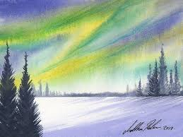 how to paint northern lights easy watercolour paint the northern lights