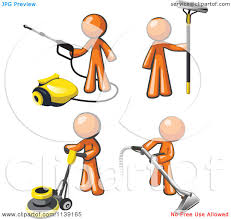 Picture Of Floor Buffer by Clipart Of Orange Janitor Men Operating A Pressure Washer Floor