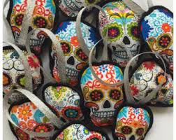 felt skull ornament 3d day of the dead felt and
