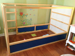 bedroom ikea kura bed with wooden floor and wooden small bedding