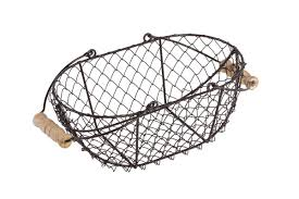 trademark innovations oval wire basket with wooden handles