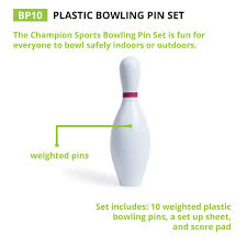 amazon com champion sports plastic bowling pins weighted set