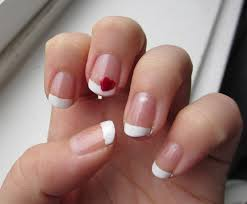 french manicure with one red heart valentine u0027s day nail art