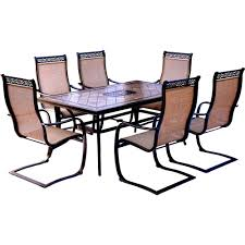 Tile Top Dining Tables Hanover Monaco 7 Piece Aluminum Outdoor Dining Set With