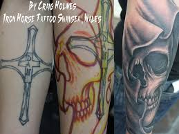 cross skull cover up by craig by craigholmestattoo on