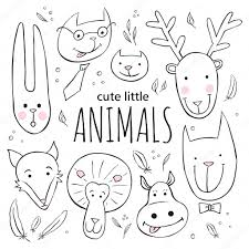 set of cute animal faces vector sketch style doodle illustration