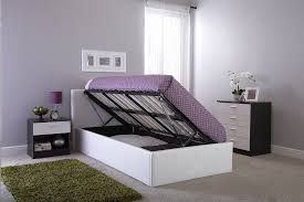 Three Quarter Ottoman Storage Bed The Side Lift Ottoman Storage Bed 4ft6 Double White Amazon Co