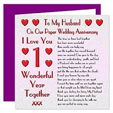 what to get husband for 1 year anniversary my husband 1st wedding anniversary card on our paper anniversary