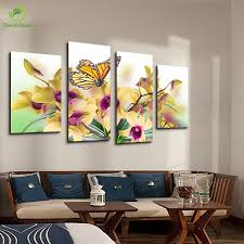 4 panel oil painting picture canvas painting butterfly bule flower