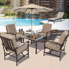 Patio Set Amazon Com Ghp Outdoor Patio 5 Piece Chair U0026 Bbq Stove Fire Pit