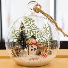 glass terrarium ornament design display snowman by christmas tree