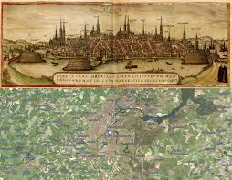 Konstanz Germany Map by Old Cities Lubeck Germany Map Then 1572 And Now 2016