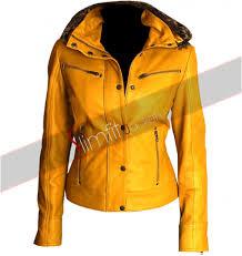 womens leather motorcycle jacket fit women u0027s yellow hooded fur biker jacket