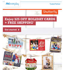 p g shutterfly deal 25 holidays cards and free shipping