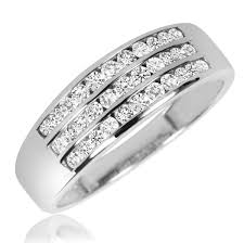 Men Wedding Rings by 1 1 2 Ct T W Diamond Trio Matching Wedding Ring Set 10k White Gold