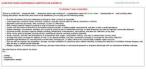 curator work experience certificate